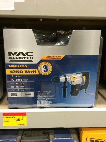 MacAllister 1250W SDS Rotary Hammer Drill £35 @ B&Q