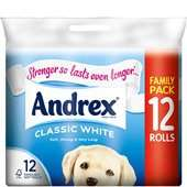 12 Pk Andrex Toilet Tissue One Week Only at One Stop £4.00