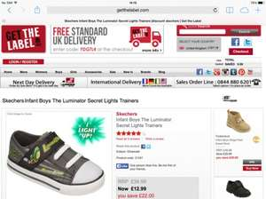 Sketchers Infant Boys The Luminator Secret Lights Trainers - £12.99 + £2 delivery at Get The Label.