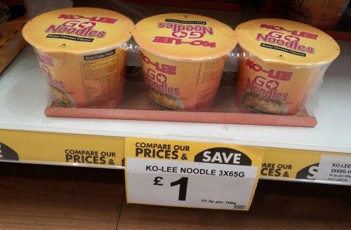 Ko-Lee Noodles Chicken 3 for £1 poundstretcher