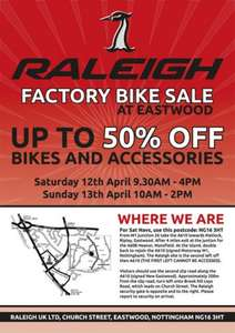 Raleigh Factory Warehouse Clearance Sale @ Raleigh (Eastwood, Nottinghamshire)