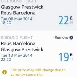 Flights from Glasgow Prestwick to Reus (Barcelona) £22 @ RyanAir
