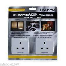 2 pk Uni-Com Plug In ELECTRONIC TIMERS 24hr 7 day Programmable Security Electric £8.36 @ Costco