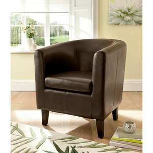 Brown faux leather tub chair £59 at Asda George