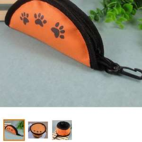 Fold Fabric Portable Travel Dog Pet Food Water Bowl-Orange £1.59 del Amazon
