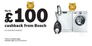 Up to £100 cashback on some Bosch Appliances