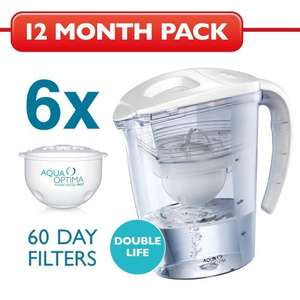 Aqua Optima Galia Water Filter Jug (white) with 6x 60-day filters, 1 year pack £12.93 @ Amazon