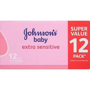 Johnsons Baby Extra Sensitive Wipes 12 Pack 672 Wipes Asda - £8