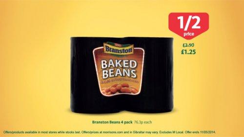 Branston Baked Beans (4 x 410g) £1.25 (Half Price) @ Morrisons
