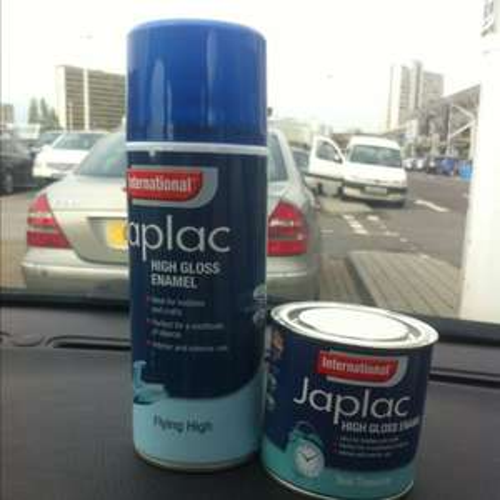 International japlac high gloss enamel 400ml spray and 250ml tin poundland