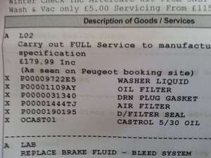 Peugeot Full Service price error - £179.99