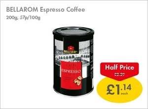 Bellarom instant Espresso coffee    100% Arabica     200g half price £1.14 at Lidl this weekend 26/27th April