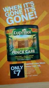 Cuprinol less mess fence care paint 10 litres £7.00 @ B&Q from Saturday 3rd May