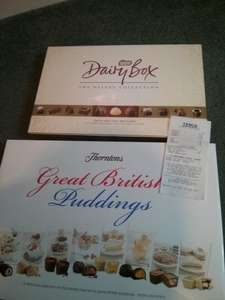 Thorntons Great British Puddings 568g Chocolates £2, Dairy Box Deluxe Collection 400g £1.25 @ Tesco