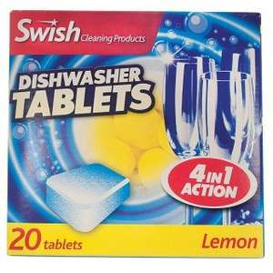 Swish Four In One Dishwasher Tablets, Lemon, Pack Of 20, £1 In Poundworld Instore Or Online @ Poundshop.com