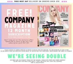 Free 12 month subscription to Company Magazine @ Fashion Union with £50 spend