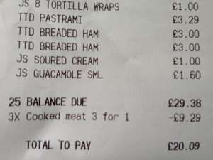 Sainsburys 3 for 1 cooked meat glitch Free!!!