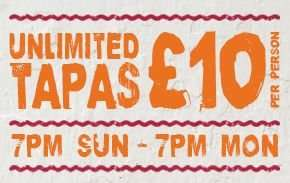 Unlimited Tapas for £10 per person @ La Tasca