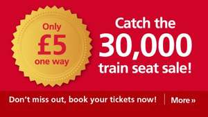 £5.00 One-way Weekday Seat Sale @ Greater Anglia