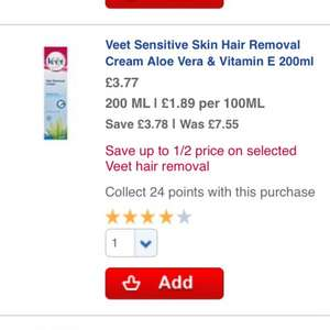 Immac/veet 200ml hair removal cream NOW £3.77 @ Boots