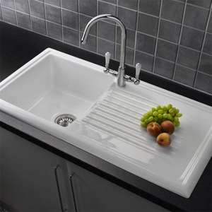 BACK ON! Reginox White Ceramic 1.0 Bowl Kitchen Sink with Elbe Mixer Tap - £189.95 @ Victorian Plumbing + 5% off!