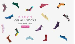 3 for 2 on Socks (from £2.75) + Extra 20% Off + Free Delivery @ MyTights.com
