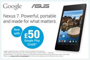 Claim £50 Google Play Store Credit when you purchase a qualifying ASUS Google Nexus 7 (2013)