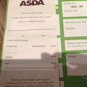 Asda photo in store. 6 x passport/driving licence sized photos printed only 64p