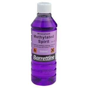 500ml Methylated spirit (camping fuel/DIY - typically £3-4) - £1.60 @ B&M