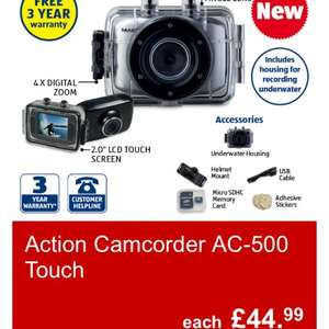 Waterproof Action Camera 5mp 720p £44.99 at Aldi, 15th May