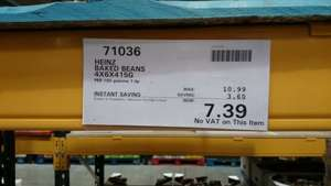 24 tins heinz baked beans (415g) £7.39 no vat at Costco