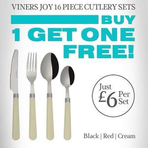 Viners Joy 16 Piece Cutlery Set - Black/Cream/Red - Was £20, now £6 - this weekend only: buy one set get one free @ Viners (plus potential Quidco/TCB)