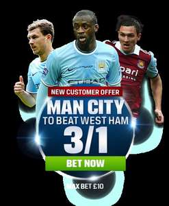 Get Man City @ 3/1 for new Coral customers(£10 max bet)