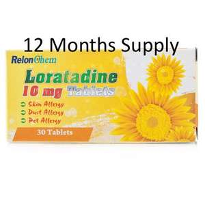 12 MONTHS SUPPLY of Loratadine Non Drowsy Hay-Fever/Allergy Relief Tablets 10mg (360 Tablets) £9.50 free delivery from Pharmacy Kwik