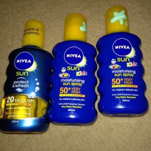 Nivea sun cream 200ml SFP 50 30 & 20 £3.50 @ Primark