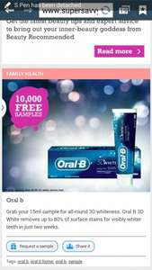 Free Oral B whitening toothpaste 15 ml sample hurry only 10,000