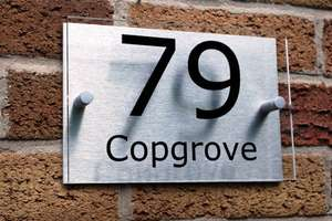 £7 Personalized House Number Sign/Plaque Brushed Aluminium & Acrylic Delivered @ Amazon. Sold by UK Sign Shop