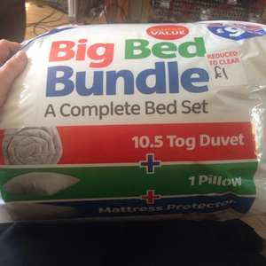 £1.00! Big bed bundle 10.5 tog duvet, 1 pillow +mattress protector! @ B&M