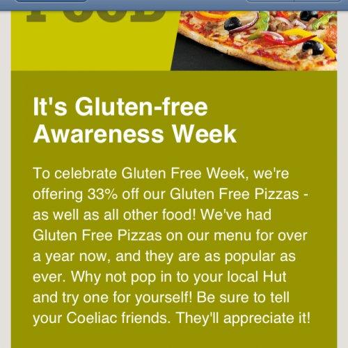 Pizza Hut deal - 33% off gluten free pizza