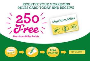 250 FREE Morrison Miles Points for simply registering your card (instore or online)