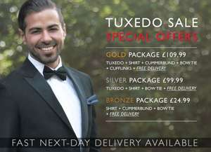 MyTuxedo - 25% of all stock. 24 hours only. Suit, shirt & tie. Free suit bag and delivery.