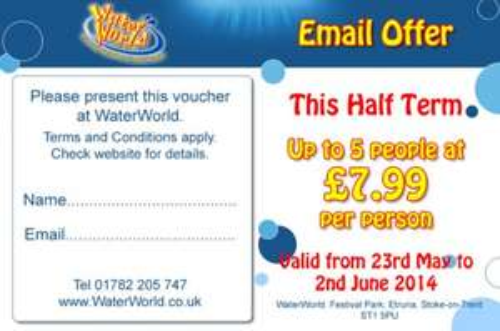Water world voucher £7.99 per person