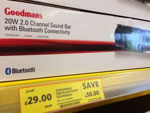 Goodmans GDSB02BT20 Soundbar Instore and online, £29.00 at Tesco