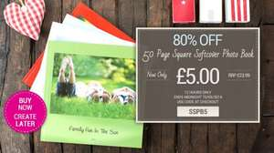 SQUARE SOFTCOVER PHOTO BOOK - 50 PAGES £5 (80% off) codeSSPB5 12 hours only. Like on facebook for extra £1 off @ Huggler