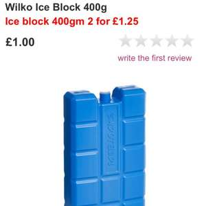 Ice blocks for cool box/bag 2 (400g) for £1.25 @ Wilko