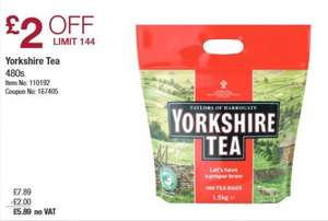 Yorkshire Tea Bags (480s) £5.89 (No VAT) @ Costco