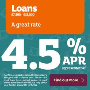 Sainsburys personal loans 4.5% representative on £7500-15000 plus double nectar points