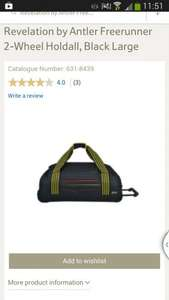 Antler Revelation Large Black 2 wheel Holdall £15 @ Tesco