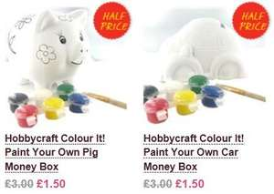 Paint Your Own Money Boxes reduced to £1.50 @ Hobbycraft, with free delivery to store