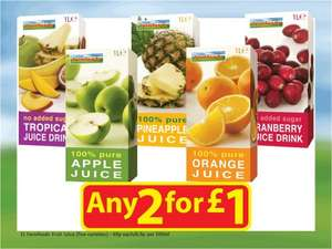 Farm Foods Various 1L Fruit Juices 69p each or 2 for £1.00 Instore